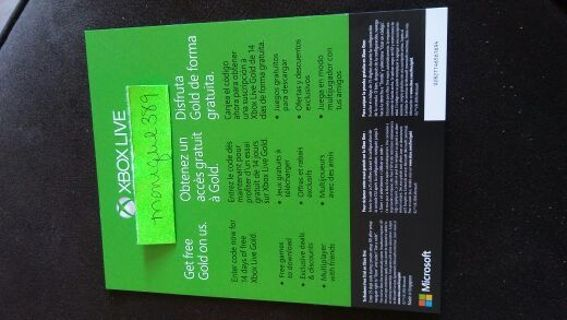Free: 14 DAY XBOX LIVE GOLD CODE - Video Game Prepaid Cards