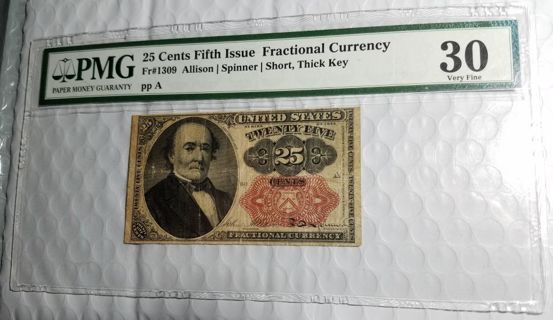PMG 1874 Fractional Currency 25c Fifth Issue VF30