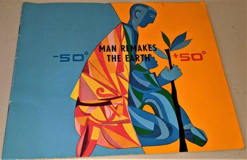 """1960s """"Man Remakes the Earth"""" - 36 pages, softcover, 8"""" x 10"""" - Published in USSR - Rare"""