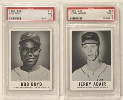 Vintage 1960 Leaf Bob Boyd #13 PSA Graded 7 NM / Jerry Adair #28 PSA 7.5 NM+ Baseball Cards