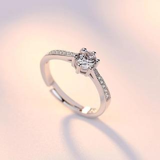 Adjustable cubic zirconia silver ring