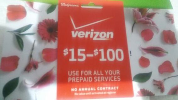 $15 Verizon Prepaid Gift Card. For prepaid cell phones only. Pin intact.