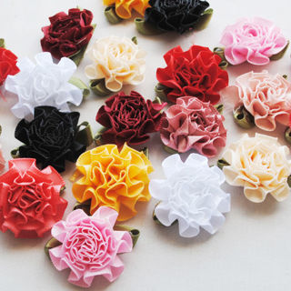 [GIN FOR FREE SHIPPING] 50PCS Ribbon Flowers Bows Carnation Appliques Wedding Decor
