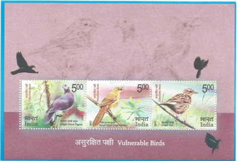 MNH India 2017 Vulnerable Birds Souvenir Sheet