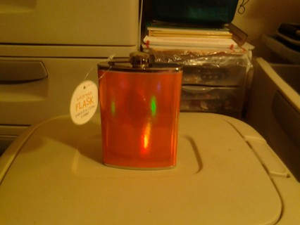 Orange Stainless Steel Iridescent Holographic 8 oz. Flask