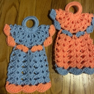 Hand Crocheted Large Pair of Angel Potholders .