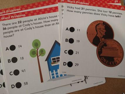 Educational Flash cards - word problems
