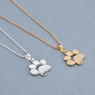 Fashion Cute Pets Dogs Footprints Paw Chain Pendant Necklaces