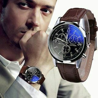 Luxury Fashion Men Leather Date Stainless Steel Military Sport Quartz WristWatch