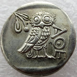 Ancient 400 BC coin of Athena and owl copy for Jewelry makers. collectors, resellers, exact and true