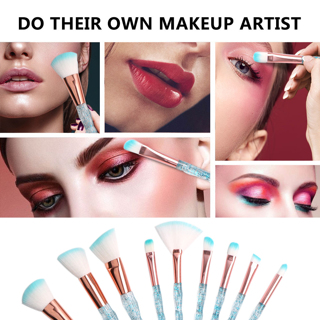 New 10pcs Professional Diamond Makeup Brushes Set Foundation Powder Fan Brush