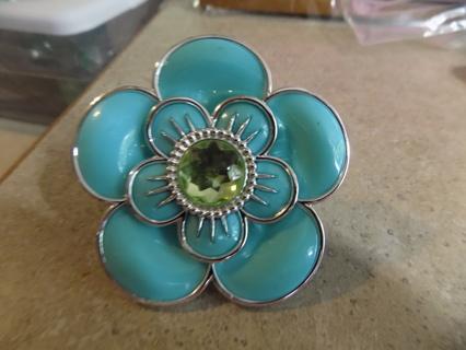 Aqua color double layer blue flower tee shirt tie