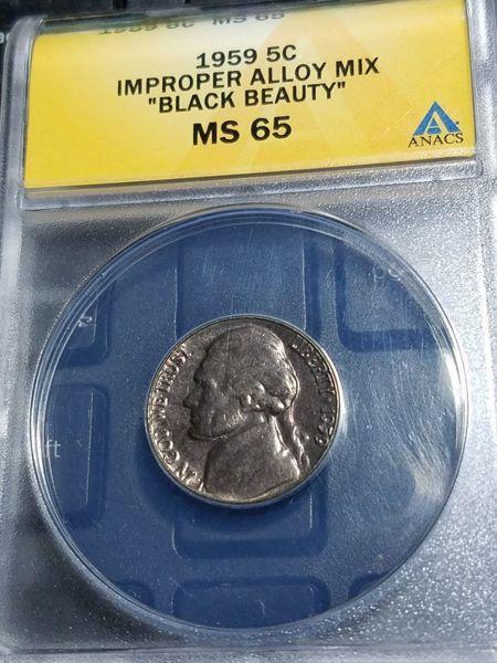 Free: 1959 Black Beauty Error Nickel MS65 ANACS - Coins