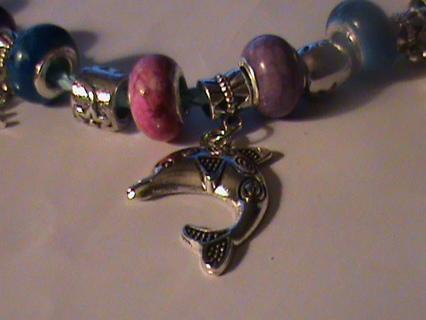 SILVER European CHARM Bracelet - Your CHOICE!!Euro Pandora type Beads plus Tibetan Silver CHARMS!!!