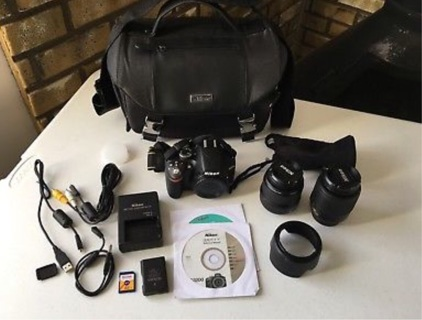 3200 24.2MP DSLR Camera Black w/ 18-55mm & 55-200mm Lenses 170 Count