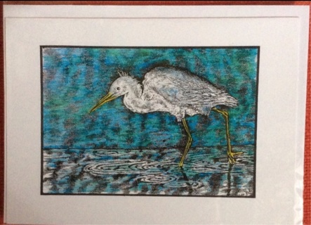 "WADING EGRET - 5 x 7"" Art Card by artist Nina Struthers - GIN ONLY"