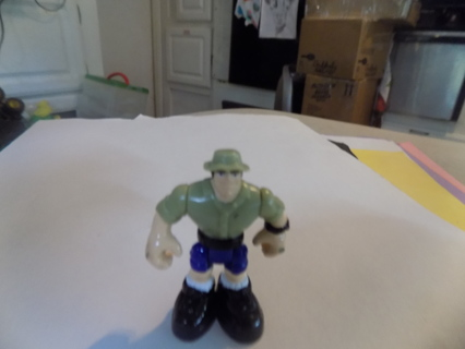 2 inch poseable Lego? Playmobile? man green shirt & safari hat, blue shorts, black boots
