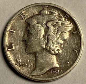 1944-S  90% SILVER Mercury Dime