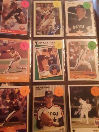 Nolan Ryan Baseball Cards Set Of 9