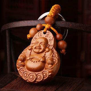Carving Exquisite Wooden Buddha Keychain Keyring