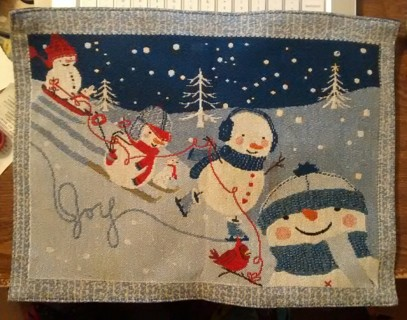 Snowman placemat...blue, red and white