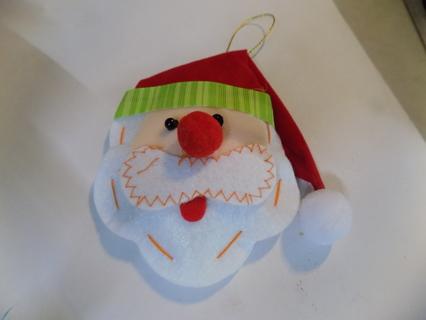 4 inch felt Santa face ornament Green stripped ribbon trim on hat
