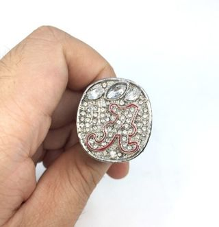 MEN'S Collector's SIZE 11 2015 ALABAMA FOOTBALL CHAMPIONSHIP RING SILVER PLATED CZ GEMSTONES