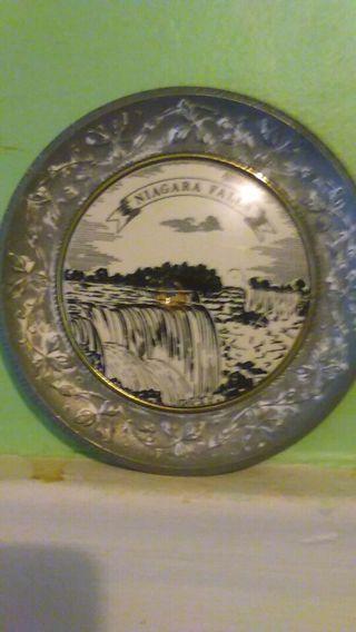 Niagara Falls Collector Plate Vintage Gold Trim