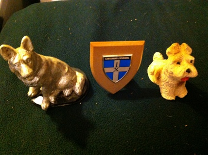 Vintage Wolf, Dog Figurines Canterbury England Cathedral Collectibles