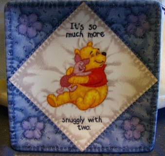 Disney Pooh Bear and Piglet Square Collectors Plate