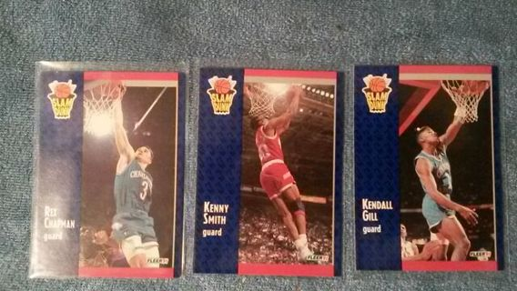 91' NBA ☆ SLAM DUNK CONTEST ☆ 3 CARD LOT ~ Rex Chapman ~ Kenny Smith ~ Kendall Gill ☆MUST HAVES☆