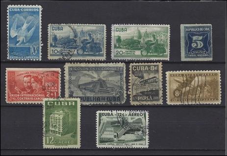 Cuba BOB stamps with Scott IDs (10), VF/U, est CV $9.50
