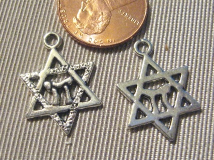 2 Pieces ~ Silvertone Pewter Star of David ~ Gin Gets 6