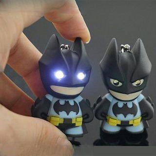 1PC Cute LED Batman luminous voice pendant Cartoon Plastic creative keychain