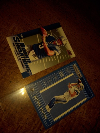 Two Card Lot football  Matthew Stafford one rookie included