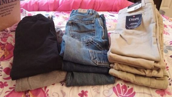 10 pair of pants boys size 5t ,free shipping gin.