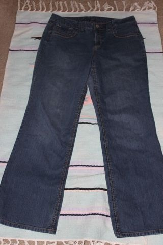 French Cuff Size 14 80% Cotton Polyester Jeans Darker Wash Factory Fade Stretch