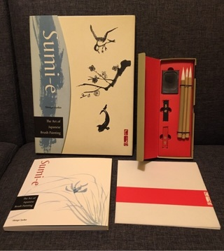 Sumi-e Japanese brush painting kit with book brushes ink paper and stone. By Shingo Syoko. Gift box