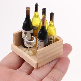 5X Wine Juice Bottles w/ Cup Wood Rack 1:12 Dollhouse Drink Miniature
