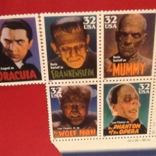 Set Of 5 Monster Stamps
