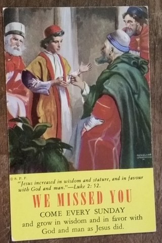 WE MISSED YOU SUNDAY CHURCH CARD - 1950'S   old unused postcard
