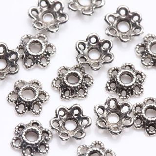 [GIN FOR FREE SHIPPING] 50Pcs Tibetan Silver Flower Beads Cap Hollow Out Jewelry Findings 5X2mm