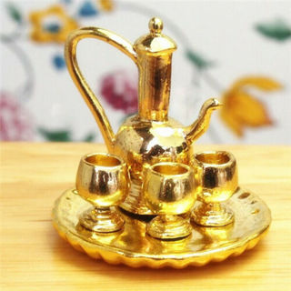 [GIN FOR FREE SHIPPING] 1:12 Dollhouse Miniature Tableware Metal Wine Coffee Tea Cup Pot Tray