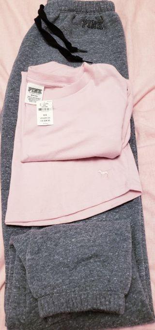 Victoria's Secret PINK Jogging Pants & T-shirt + GIN Bonus! Sz Sm Med