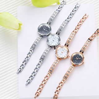 Luxury Women's Stainless Steel Crystal Bracelet Quartz Dress Wrist Watch Silver