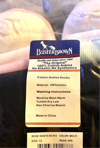 BN One Pair White Buster Brown's Diabetic Circulation Socks. Size 12. Non Binding.