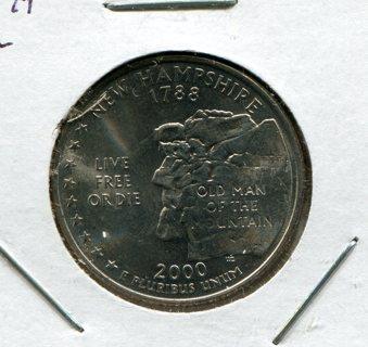 2000 D New Hampshire State Quarter-UNC.