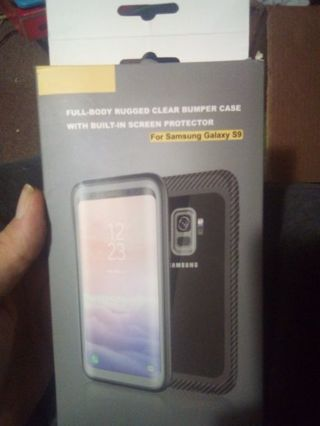Full-body rugged clear bumper case with built-in screen protector for Samsung Galaxy S9