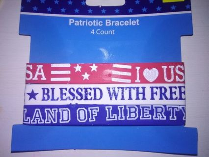 """BN White """"Blessed With Freedom"""" Patriotic Bracelet"""