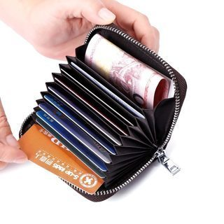 Business Card Holder Genuine Leather Credit Card Holder Women Zipper Pocket